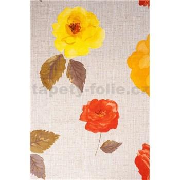 Obrusy návin 20 m x 140 cm kvety na svetlo hnedom podklade - DOPREDAJ