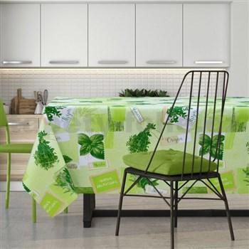 Obrus metráž bylinky na zelenom podklade