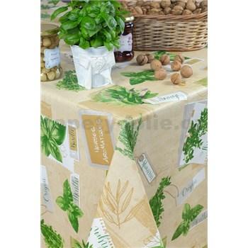 Obrusy návin 20 m x 140 cm bylinky hnedé