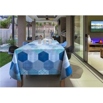 Obrusy návin 20 m x 140 cm geometrický vzor modrý