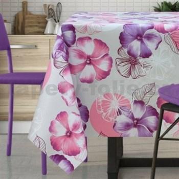 Obrusy návin 20 m x 140 cm kvety fialovo-ružové