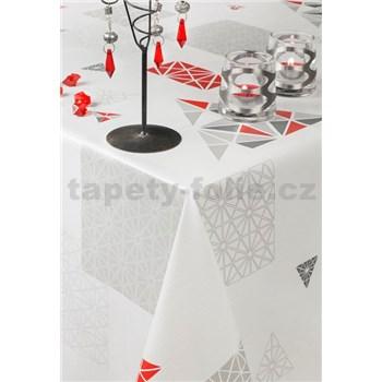 Obrusy návin 20 m x 140 cm geometrický vzor sivo-červený