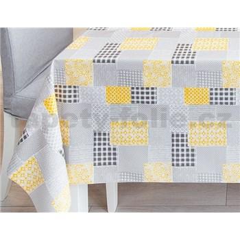 Obrusy návin 20 m x 140 cm patchwork sivo-žltý
