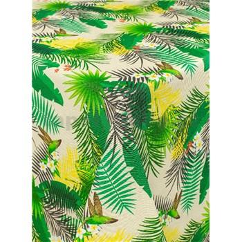 Obrus metráž tropické listy na krémovom podklade s textilnou štruktúrou
