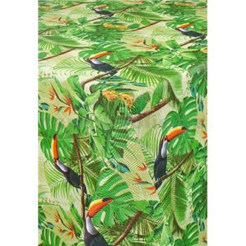 Obrus metráž jungle s tukany s textilnou štruktúrou