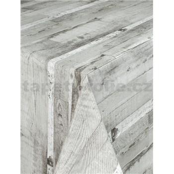Obrusy návin 20 m x 140 cm drevené dosky sivé s textilnou štruktúrou
