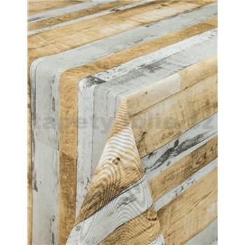 Obrusy návin 20 m x 140 cm drevené dosky sivo-hnedé s textilnou štruktúrou