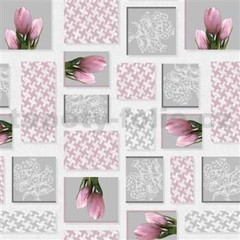 Obrusy návin 20 m x 140 cm ružové tulipány