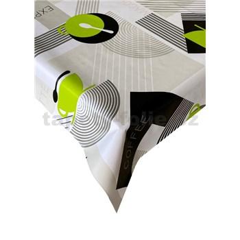 Obrusy návin 20 m x 140 cm káva-bistro zeleno-sivý