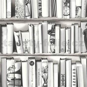 Vliesové tapety na stenu Kaleidoscope knižnica sivá