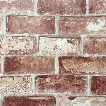Papierové tapety na stenu tehla hnedo-červená
