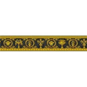 Luxusné vliesové  bordúry na stenu Versace III barokový kvetinový vzor čierno-zlatý