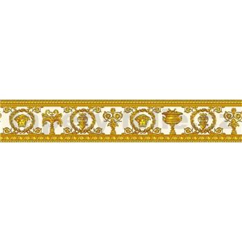 Luxusné vliesové  bordúry na stenu Versace III barokový kvetinový vzor bielo-zlatý