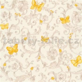Luxusné vliesové  tapety na stenu Versace III barokový vzor so žltými motýľmi strieborno-béžový