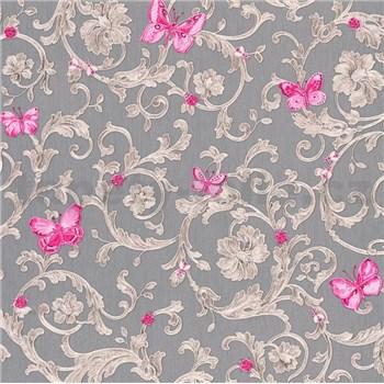 Luxusné vliesové  tapety na stenu Versace III barokový vzor s ružovými motýľmi sivo-nachový