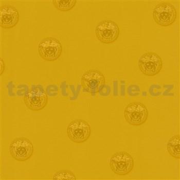 Luxusné vliesové  tapety na stenu Versace III hlava medúzy zlatá