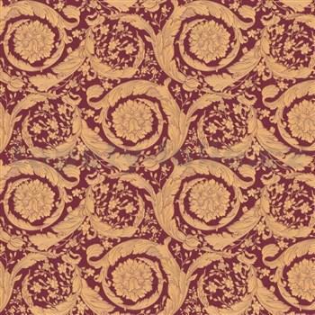 Luxusné vliesové  tapety na stenu Versace IV barokový vzor červeno-hnedý