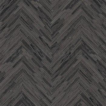 Luxusné vliesové  tapety na stenu Versace IV parketový obklad sivo-čierny