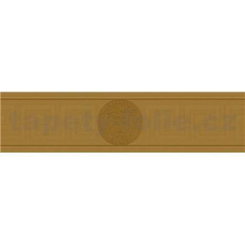 Luxusné vliesové  bordúry na stenu Versace III hlava medúzy zlatá s gréckym kľúčikom