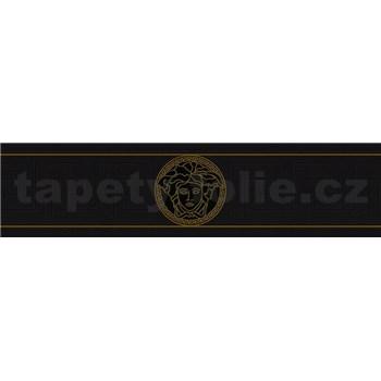 Luxusné vliesové  bordúry na stenu Versace III hlava medúzy zlato-čierna s gréckym kľúčikom