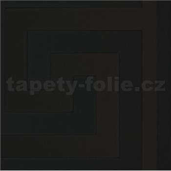 Luxusné vliesové  tapety na stenu Versace III grécky kľúč čierny