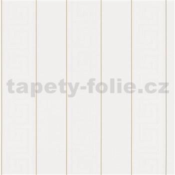 Luxusné vliesové  tapety na stenu Versace III grécky kľúč biely so zlatými prúžkami