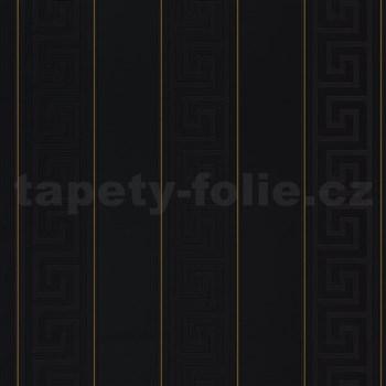 Luxusné vliesové  tapety na stenu Versace III grécky kľúč čierny so zlatými prúžkami