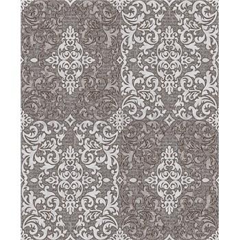 Vinylové tapety na stenu Vila patchworkový zámocký vzor svetlý sivo-strieborný na tmavo sivom podkla