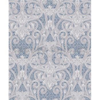Vinylové tapety na stenu Vila zámocký vzor strieborno-hnedý na modrom podklade
