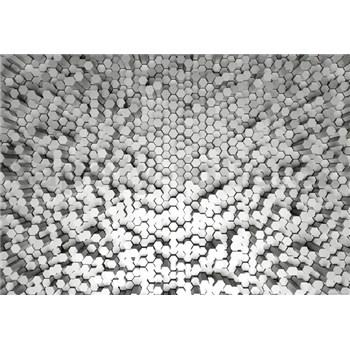 Fototapety 3D pentagony biele rozmer 368 x 254 cm