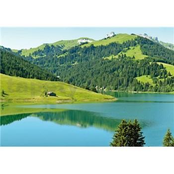 Vliesové fototapety švajčiarske horské jazero rozmer 368 x 254 cm