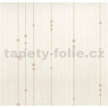 Vinylové tapety na stenu WohnSinn - prúžky s guličkami hnedo-biele