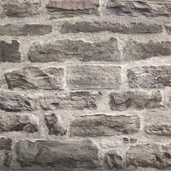 Vliesové tapety na stenu tehlová stena sivo-čierna