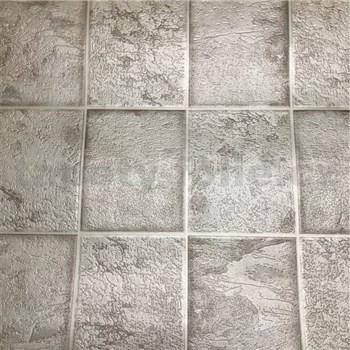 Vinylové tapety na stenu kachličky sivé so striebornými odleskami