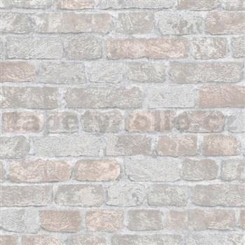 Vliesové tapety na stenu Brique 3D tehly sivo-hnedé s výraznou plastickou štruktúrou