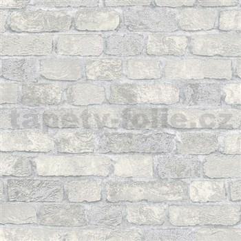 Vliesové tapety na stenu Brique 3D tehly bielo-krémové s výraznou plastickou štruktúrou