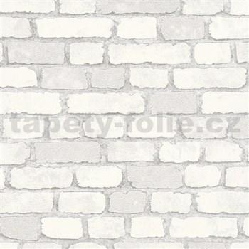 Vliesové tapety na stenu 3D tehly biele s výraznou plastickou štruktúrou