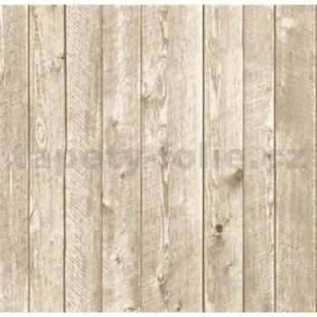 Vliesové tapety na stenu drevený obklad svetlo hnedý