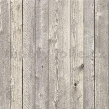 Vliesové tapety na stenu drevený obklad sivý