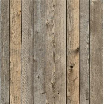 Vliesové tapety na stenu drevený obklad tmavo hnedý