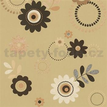 Papierové tapety na stenu X-treme Colors - kvety hnedé