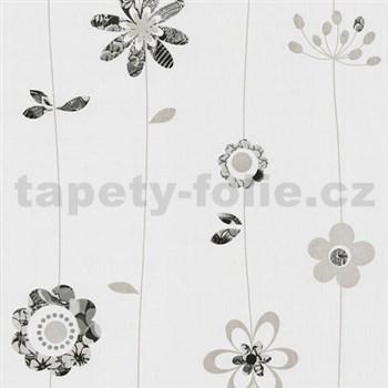 Papierové tapety na stenu X-treme Colors - kvetinky sivo-čierne