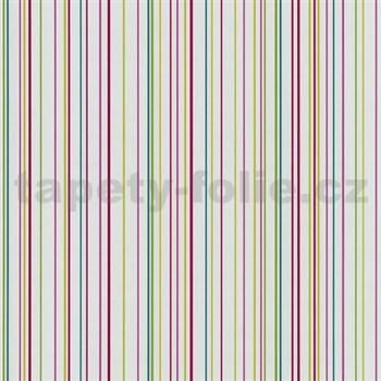 Papierové tapety na stenu X-treme Colors - prúžky farebné na bielom podklade