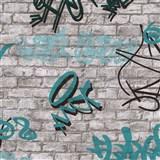 Tapety na stenu IMPOL Young Spirit - Graffiti tyrkysové