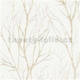 Vliesové tapety na stenu Blooming florálny vzor zlatý na bielom podklade