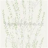 Vliesové tapety na stenu Blooming vetvičky strieborné so zelenými kvietkami