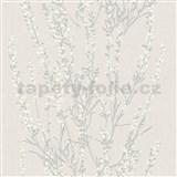 Vliesové tapety na stenu Blooming vetvičky strieborné s bielymi kvietkami