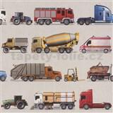 Detské papierové  tapety na stenu IMPOL Collection nákladné autá