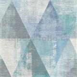 Vliesové tapety na stenu IMPOL Collection geometrické vzory s patinou sivo-zeleno-modré