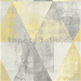 Vliesové tapety na stenu IMPOL Collection geometrické vzory s patinou sivo-žlté